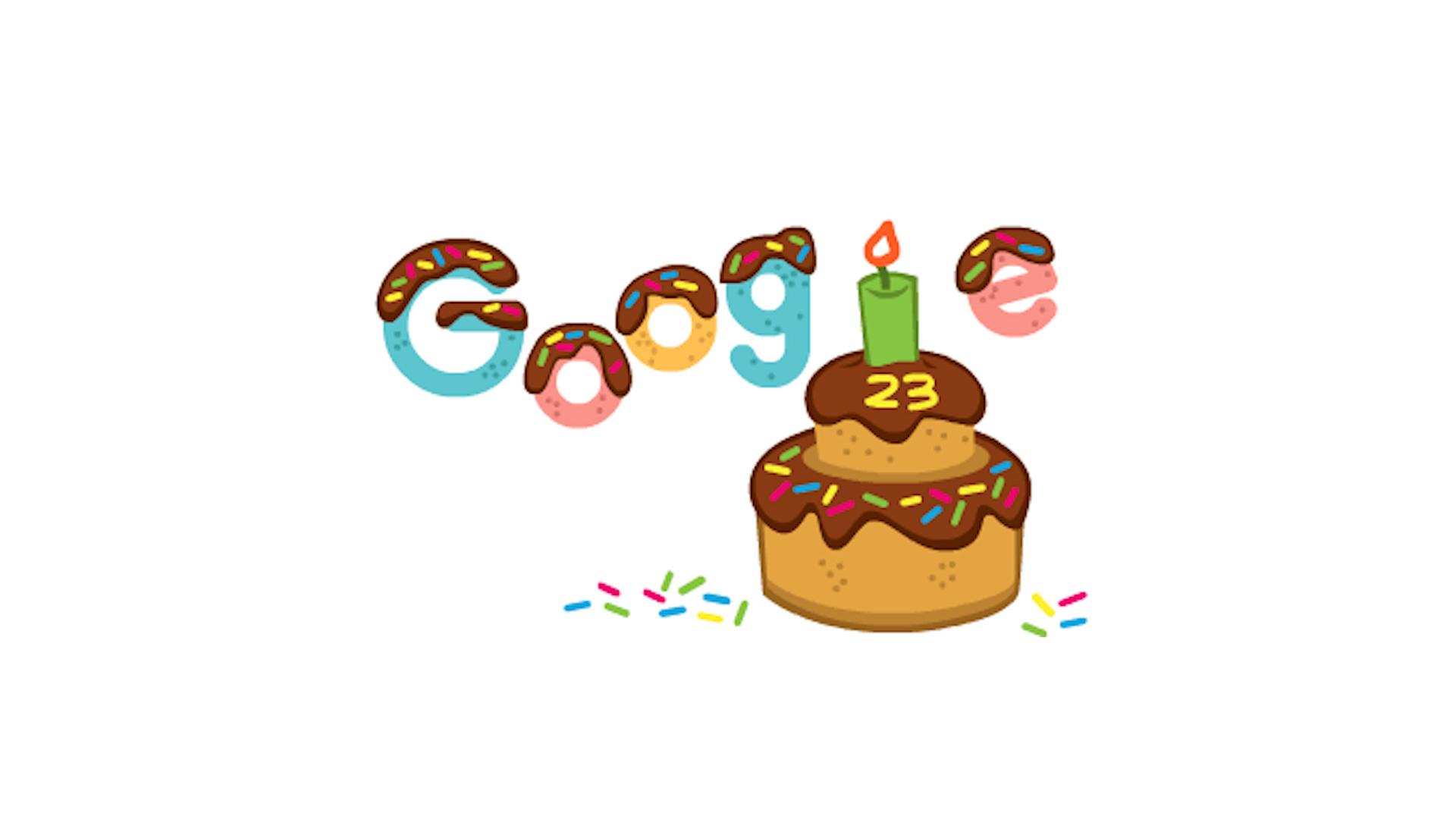 Google turns 23, celebrates with 'birthday cake' Google Doodle
